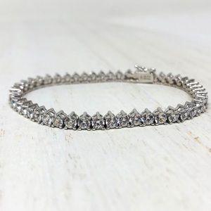🆕 sterling silver / CZ tennis bracelet, 8.5g